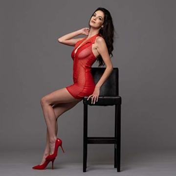FETkleid Partykleid für Damen, Wetlook Mini Sexy Kleider, Ärmelloses Rotes Party Kleid mit V-Ausschnitt. Clubwear Mesh Einsätze auf Beiden Seiten - 8