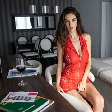 FETkleid Partykleid für Damen, Wetlook Mini Sexy Kleider, Ärmelloses Rotes Party Kleid mit V-Ausschnitt. Clubwear Mesh Einsätze auf Beiden Seiten - 9
