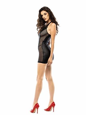 FETkleid Partykleid für Damen, Wetlook Mini Sexy Kleider. Ärmelloses, Schwarzes Wetlook Kleid um Dein Partner zu Beeindrucken. Enge Taille Party Kleid - 2