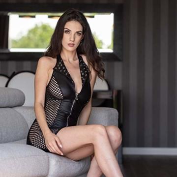 FETkleid Partykleid für Damen, Wetlook Mini Sexy Kleider. Ärmelloses, Schwarzes Wetlook Kleid um Dein Partner zu Beeindrucken. Enge Taille Party Kleid - 4