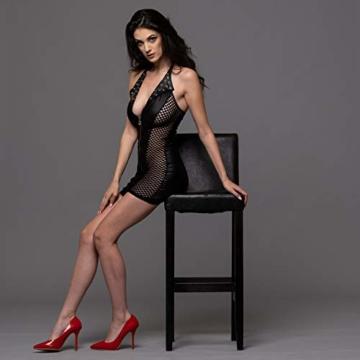 FETkleid Partykleid für Damen, Wetlook Mini Sexy Kleider. Ärmelloses, Schwarzes Wetlook Kleid um Dein Partner zu Beeindrucken. Enge Taille Party Kleid - 6