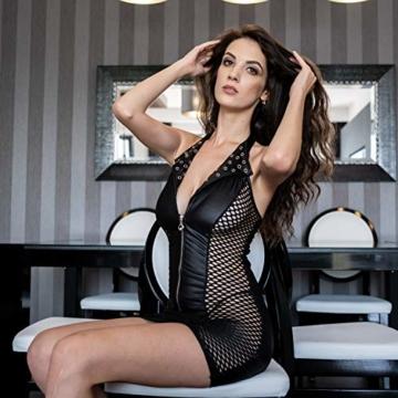 FETkleid Partykleid für Damen, Wetlook Mini Sexy Kleider. Ärmelloses, Schwarzes Wetlook Kleid um Dein Partner zu Beeindrucken. Enge Taille Party Kleid - 8
