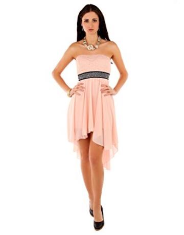 Few24 Chiffon Bandeau Cocktailkleid mit Spitze Kleid Sexy Kleid Partykleid Asymmetrisch Minikleid Abendkleid 12121 (S/ 36, Pfirsich) - 2