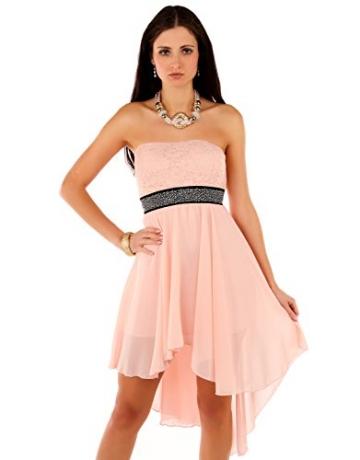 Few24 Chiffon Bandeau Cocktailkleid mit Spitze Kleid Sexy Kleid Partykleid Asymmetrisch Minikleid Abendkleid 12121 (S/ 36, Pfirsich) - 3
