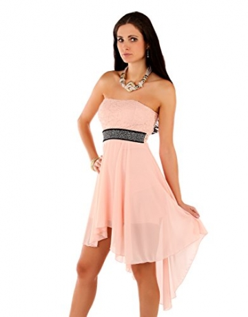Few24 Chiffon Bandeau Cocktailkleid mit Spitze Kleid Sexy Kleid Partykleid Asymmetrisch Minikleid Abendkleid 12121 (S/ 36, Pfirsich) - 4