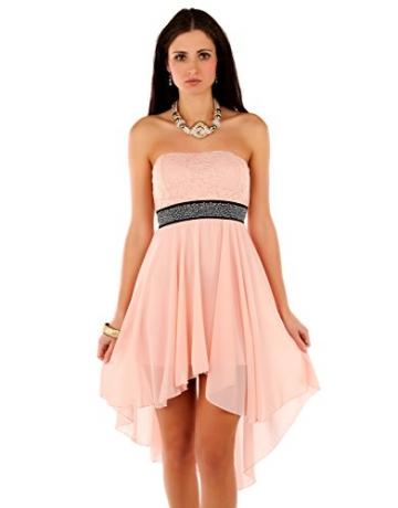 Few24 Chiffon Bandeau Cocktailkleid mit Spitze Kleid Sexy Kleid Partykleid Asymmetrisch Minikleid Abendkleid 12121 (S/ 36, Pfirsich) - 1
