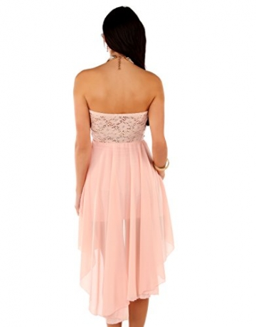 Few24 Chiffon Bandeau Cocktailkleid mit Spitze Kleid Sexy Kleid Partykleid Asymmetrisch Minikleid Abendkleid 12121 (S/ 36, Pfirsich) - 5