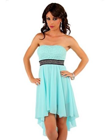 Few24 Chiffon Bandeau Cocktailkleid mit Spitze Kleid Sexy Kleid Partykleid Asymmetrisch Minikleid Abendkleid 12121 (L/ 40, Mint) -
