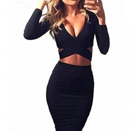Figurbetontes Kleid Knielang, GRAVOG Sexy Fest V Ausschnitt Langarm Bodycon Kleid 2 teilig, Verschiedene Farben und Größen (S, schwarz) -
