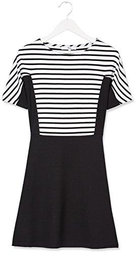 FIND Damen Kleid Colour Block Stripe, Schwarz (Black/White Striped), X-Large -