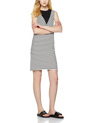 FIND Damen Kleid Colour Block Stripe Tunic, Schwarz (Black/White Striped), Medium -