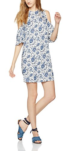 FIND Damen Rock Floral Cold Shoulder Tunic, Blau (Blue Mix), Medium -