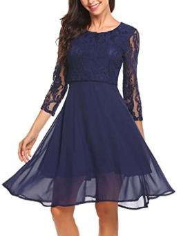 Finejo Damen Elegant Chiffonkleid Abendkleid Cocktailkleid 3/4 Arm mit Spitzen Ballkleid Party Kleid A line Knielang Blau L - 1