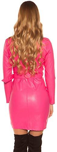 Firstclass Trendstore SEXY Kleider in versch. Styles * S-XL * Clubwear Wetlook Party Kleid Minikleid Lederoptik mesh (900178 pink L H0334) - 2