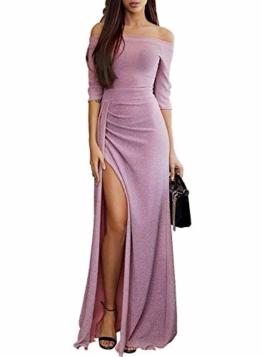 FIYOTE Damen Off Cocktailkleid Shoulder Kleider für Hochzeit Elegant Maxikleider Glänzend Hoch Geschnitten Abendkleider - 1