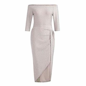FIYOTE Damen Off Cocktailkleid Shoulder Kleider für Hochzeit Elegant Maxikleider Glänzend Hoch Geschnitten Abendkleider - 4