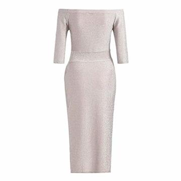 FIYOTE Damen Off Cocktailkleid Shoulder Kleider für Hochzeit Elegant Maxikleider Glänzend Hoch Geschnitten Abendkleider - 5