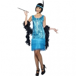 Flirty Flapper Kostüm Türkis mit Kleid Kopfschmuck und Halskette, Medium -