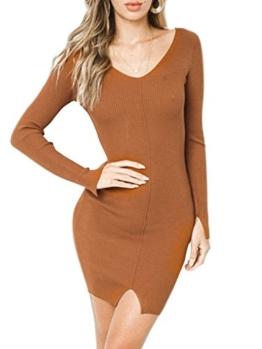 Fondlee Damen Kleid Vintage Kurz Langarm V-Ausschnitt Rückenfrei Sexy Pullover Strickkleid Jersey-Kleid - 1