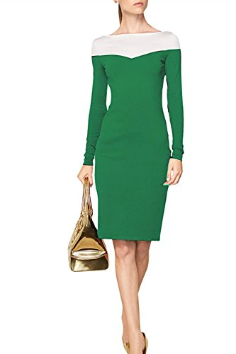 Fordestiny Damen Elegant Langarm Rundhals Etuikleid Party Cocktail Pencil Kleid XL Grün -