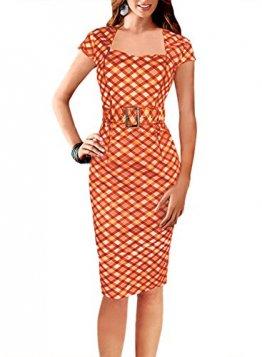Fordestiny Damen Kurzarm Schleife Cocktailkleid 1950er Jahre Business Stretch Kleid mit Gürtel Orange Large -