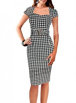 Fordestiny Damen Kurzarm Schleife Cocktailkleid 1950er Jahre Business Stretch Kleid mit Gürtel Hahnentritt X-Large -