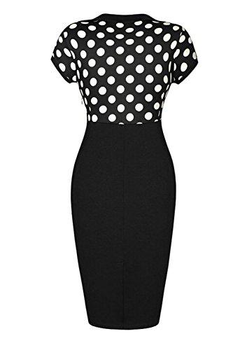 Fordestiny Damen Revers Kurzärmel 1950er Jahre Retro Cocktailkleider Polka Dots Party Abend Kleid XL Schwarz - 2