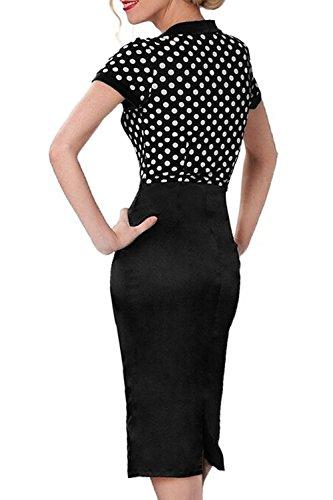 Fordestiny Damen Revers Kurzärmel 1950er Jahre Retro Cocktailkleider Polka Dots Party Abend Kleid XL Schwarz - 3