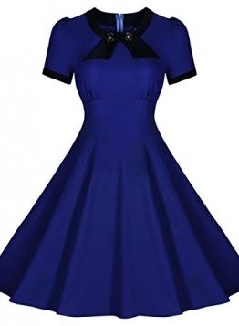 Fordestiny Damen Rundhals Kurzärmel Business Faltenrock Retro 50er Jahre Cocktailkleid XL Blau -
