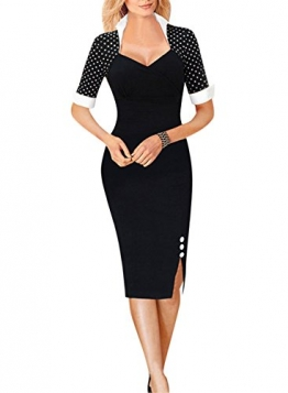 Fordestiny Knielang Etuikleid Business Kleid Elegantes Abendkleid, Schwarz (Polka Punkt), Gr. M -