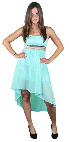 Foxxeo 40225 I Sexy Sommer Bandeau Kleid Vokuhilaschnitt Cocktailkleid Partykleid mint-grün, Größe:L - 1