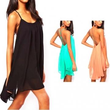 Frau Chiffon Rückenfrei Sling Strap Rückseite Clubwear Abend Mini-Kleid (Schwarz, M) -