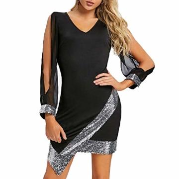 Frauen Glänzend Kleid V-Ausschnitt Minikleid Langarm Mesh Kleider Sexy Partykleider Kingwo(Schwarz,S) - 1