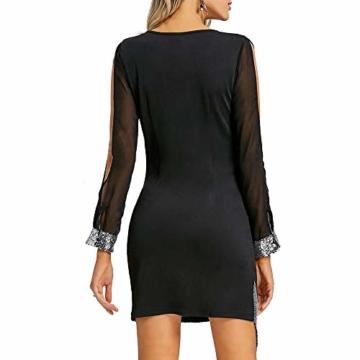 Frauen Glänzend Kleid V-Ausschnitt Minikleid Langarm Mesh Kleider Sexy Partykleider Kingwo(Schwarz,S) - 5