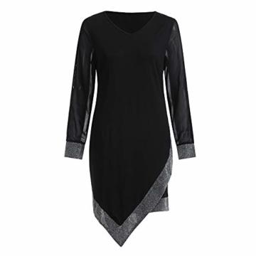 Frauen Glänzend Kleid V-Ausschnitt Minikleid Langarm Mesh Kleider Sexy Partykleider Kingwo(Schwarz,S) - 6