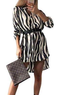 Frauen Hemd Kleid Leopard Schlange/Hals Lange Ärmel Mini - Kleider Zebra XS - 1