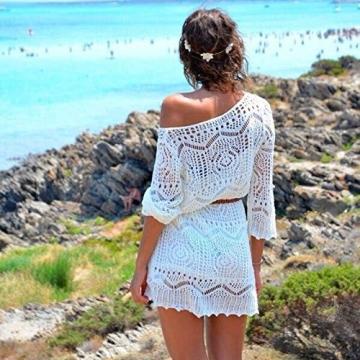Frauen Kleid,Xinan Frauen aushöhlen weiße Spitze-Kleid-Strand-Partei-Kleid mit Gürtel (S, Weiß) -