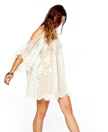 Frauen Kleid,Xinan Vintage Hippie Boho Menschen bestickt floraler Spitze häkeln Minikleid (S, Weiß) - 3