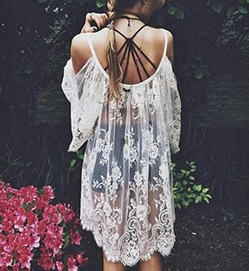 Frauen Kleid,Xinan Vintage Hippie Boho Menschen bestickt floraler Spitze häkeln Minikleid (S, Weiß) - 5