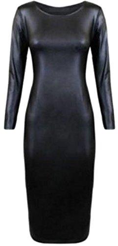 Frauen plus Größe Wet-Look pu glänzenden langen Kurzarm-Kurz Midi-Kleid (44/46, Long Sleeve) -