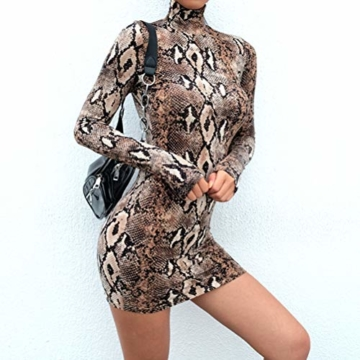 Frauen Schlangenleder Print Zebra Animal Print Club Kleid Rollkragen Sexy Bodycon Party Minikleid (S, D) - 4