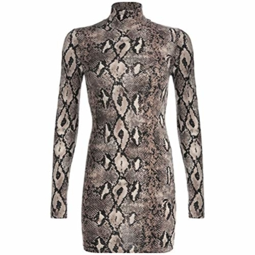 Frauen Schlangenleder Print Zebra Animal Print Club Kleid Rollkragen Sexy Bodycon Party Minikleid (S, D) - 5