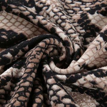 Frauen Schlangenleder Print Zebra Animal Print Club Kleid Rollkragen Sexy Bodycon Party Minikleid (S, D) - 7