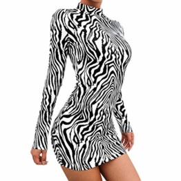 Frauen Schlangenleder Print Zebra Animal Print Club Kleid Rollkragen Sexy Bodycon Party Minikleid (S, B) - 1