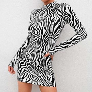 Frauen Schlangenleder Print Zebra Animal Print Club Kleid Rollkragen Sexy Bodycon Party Minikleid (S, B) - 2