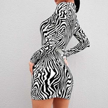 Frauen Schlangenleder Print Zebra Animal Print Club Kleid Rollkragen Sexy Bodycon Party Minikleid (S, B) - 3