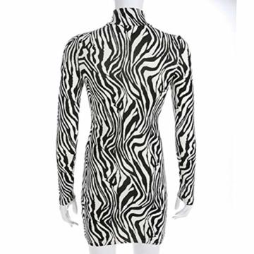Frauen Schlangenleder Print Zebra Animal Print Club Kleid Rollkragen Sexy Bodycon Party Minikleid (S, B) - 6