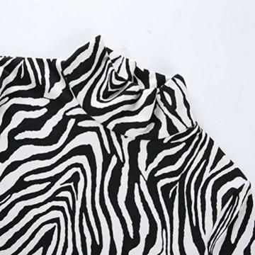 Frauen Schlangenleder Print Zebra Animal Print Club Kleid Rollkragen Sexy Bodycon Party Minikleid (S, B) - 7