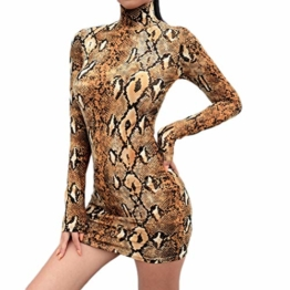 Frauen Schlangenleder Print Zebra Animal Print Club Kleid Rollkragen Sexy Bodycon Party Minikleid (S, C) - 1