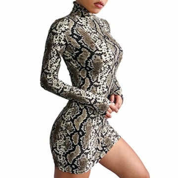 Frauen Schlangenleder Print Zebra Animal Print Club Kleid Rollkragen Sexy Bodycon Party Minikleid (S, A) - 1